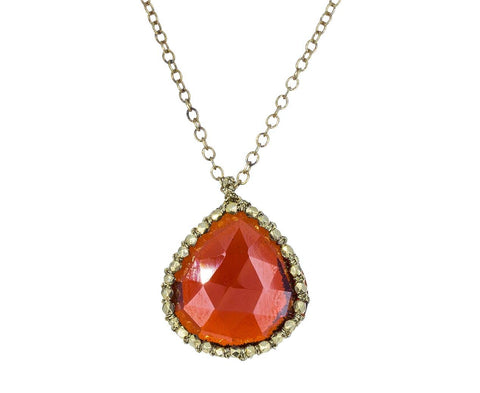 Caged Garnet Quartz and Gold Bead Pendant Necklace - TWISTonline