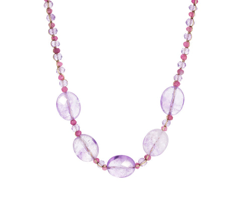 Pink Sapphire, Amethyst and Fluorite Necklace