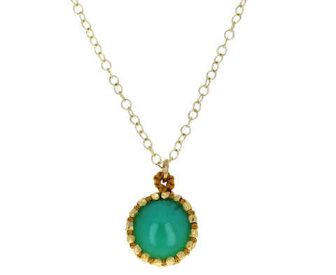 Caged Chrysoprase Pendant Necklace