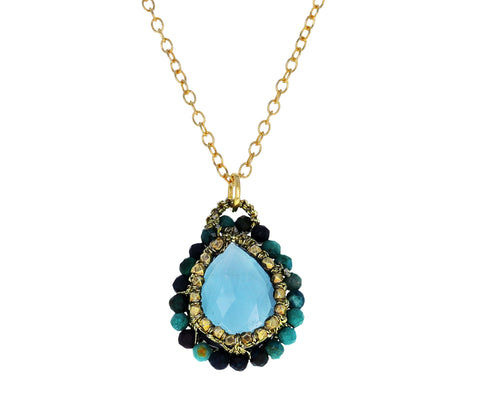 Blue Quartz and Chrysocolla Orbit Necklace
