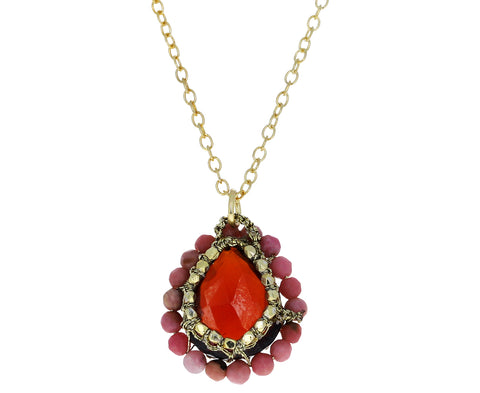 Garnet Quartz and Rhodochrosite Orbit Necklace