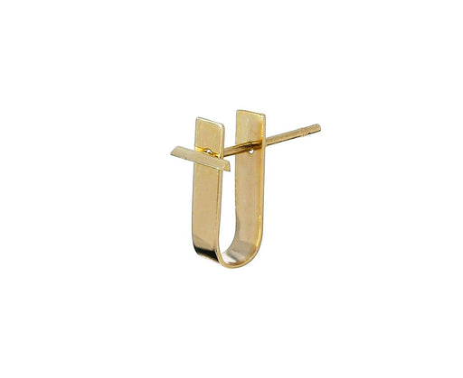 Beveled Stud and Ear Jacket SINGLE EARRING zoom 1_kathleen_whitaker_gold_bevel_stud_ear_cuff_earri