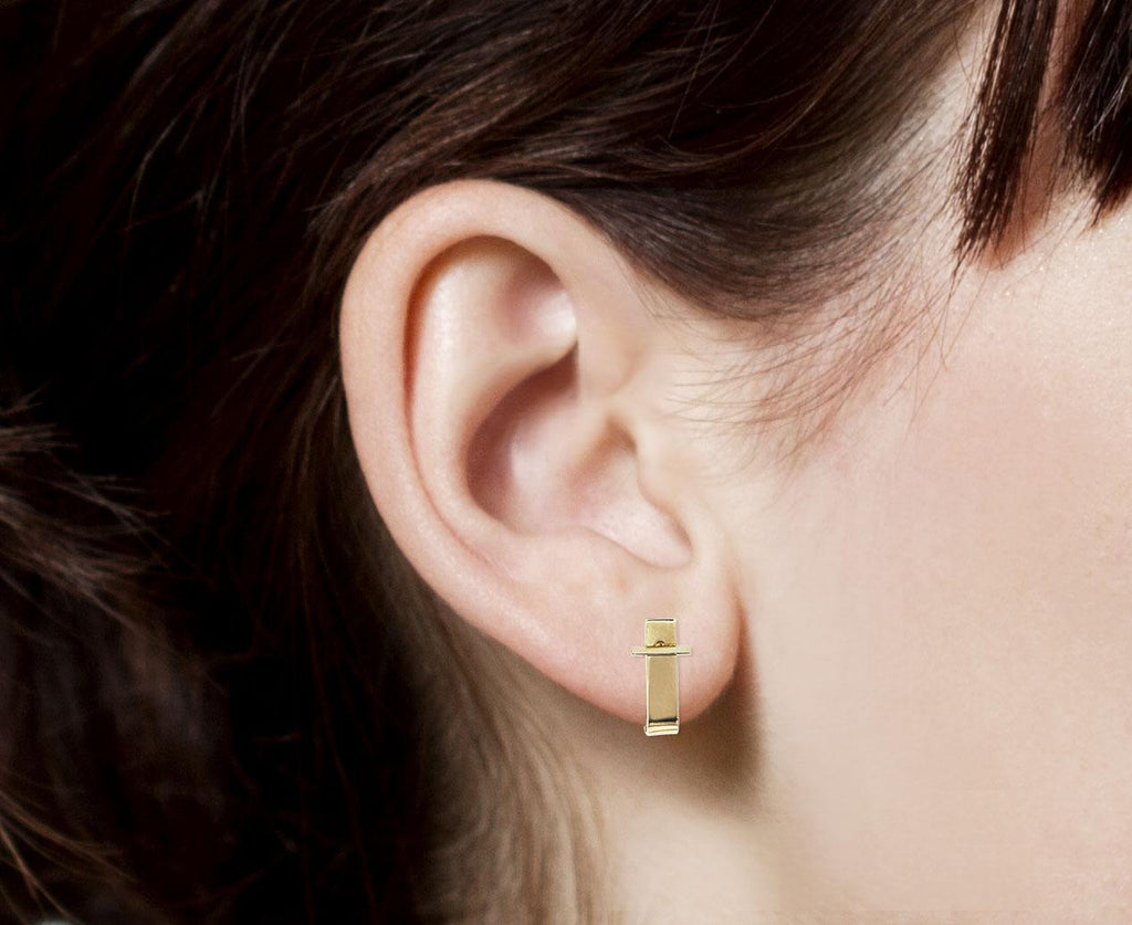 Beveled Stud and Ear Jacket SINGLE EARRING zoom 8_kathleen_whitaker_gold_bevel_stud_ear_cuff_earri