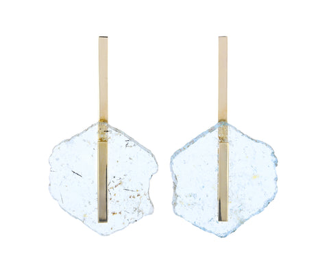 Light Aquamarine Slice Earrings