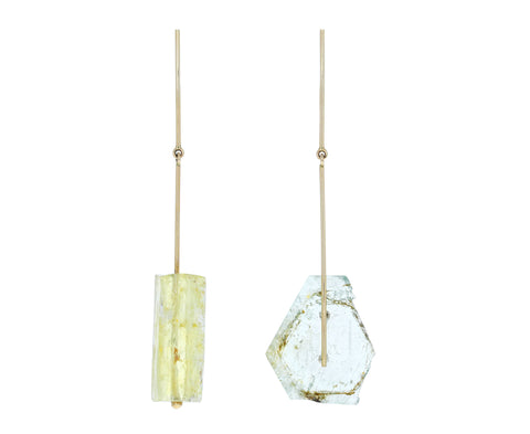 Imperial Topaz and Aquamarine Stick and Strand Earrings