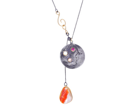 Opal and Ruby Moon Pendant Necklace