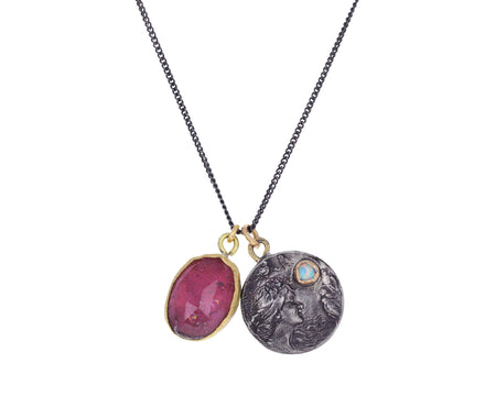 Pink Tourmaline Coin Pendant Necklace