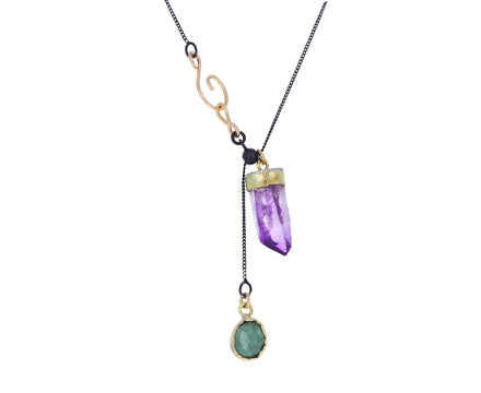Amethyst Crystal and Green Tourmaline Necklace