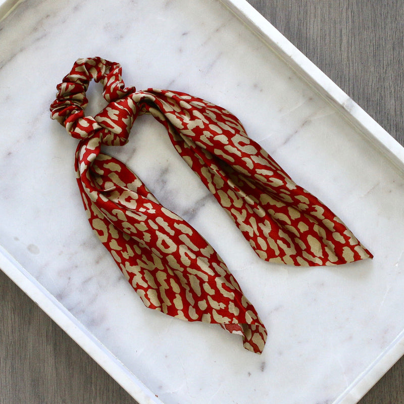 silk hair scarf // leopard