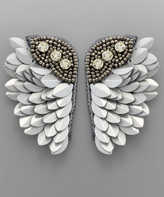 wing earrings // grey