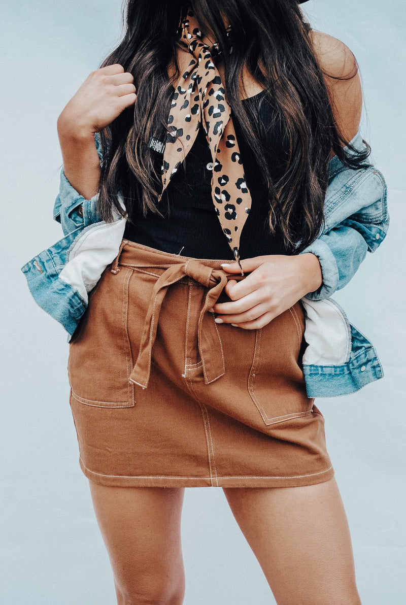 brown tie skirt