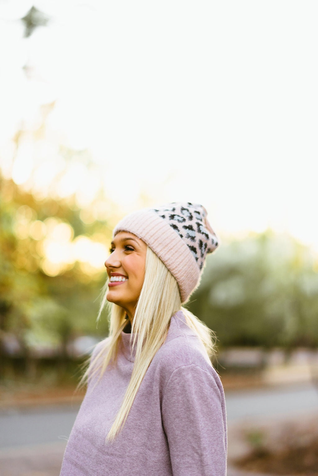 leopard beanie // pink - poppy & rose clothing