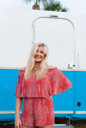 crimson romper - poppy & rose clothing
