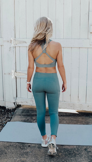 high neck bra // dusty blue - poppy & rose clothing