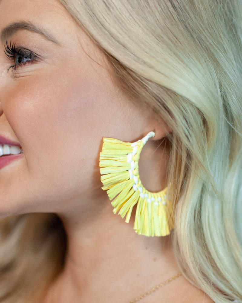 raffia fan hoop // yellow - poppy & rose clothing