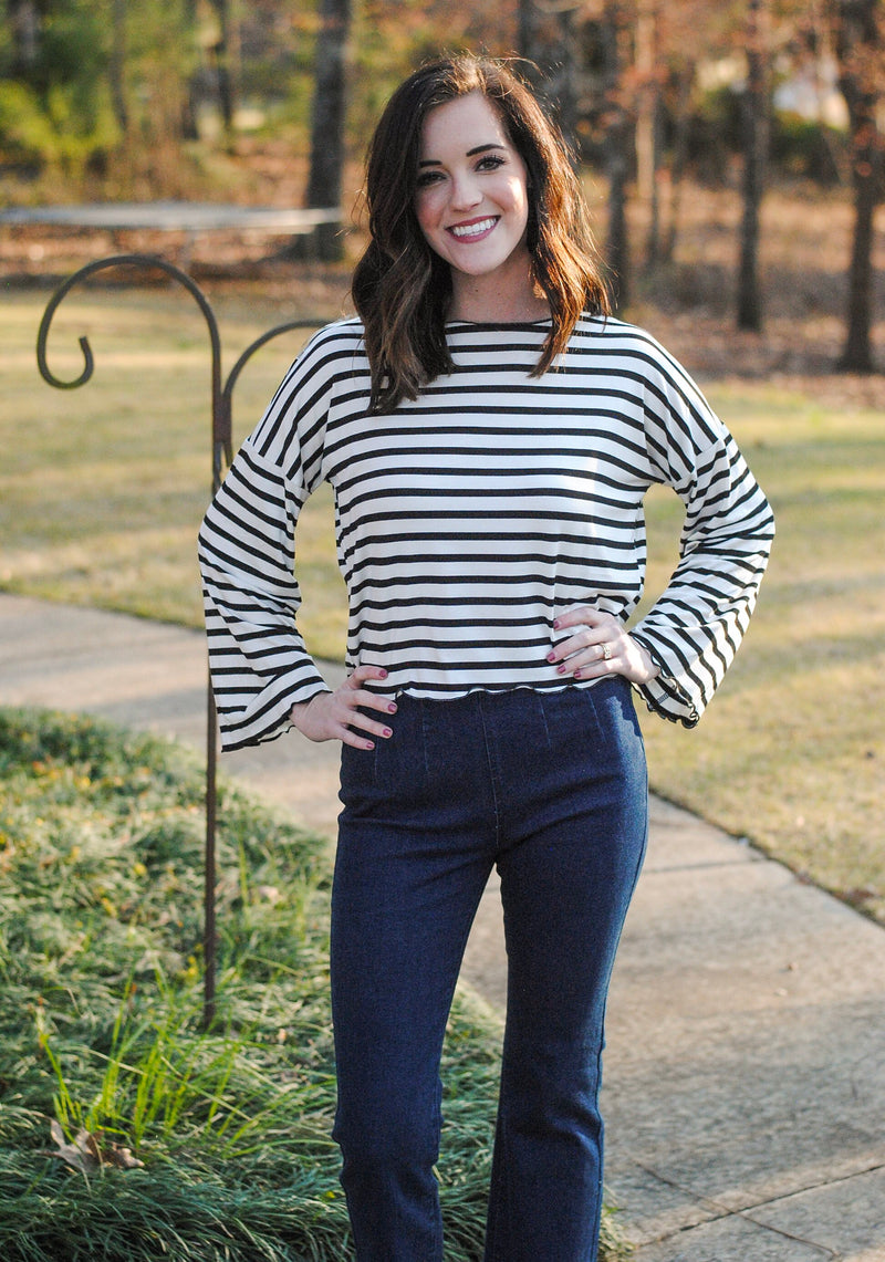 striped top // bell sleeves