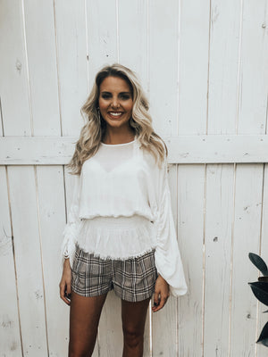 plaid shorts - poppy & rose clothing