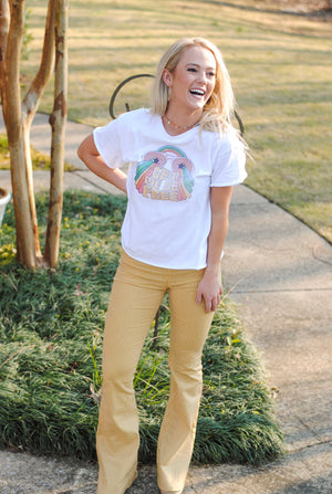 yellow striped flares - poppy & rose clothing
