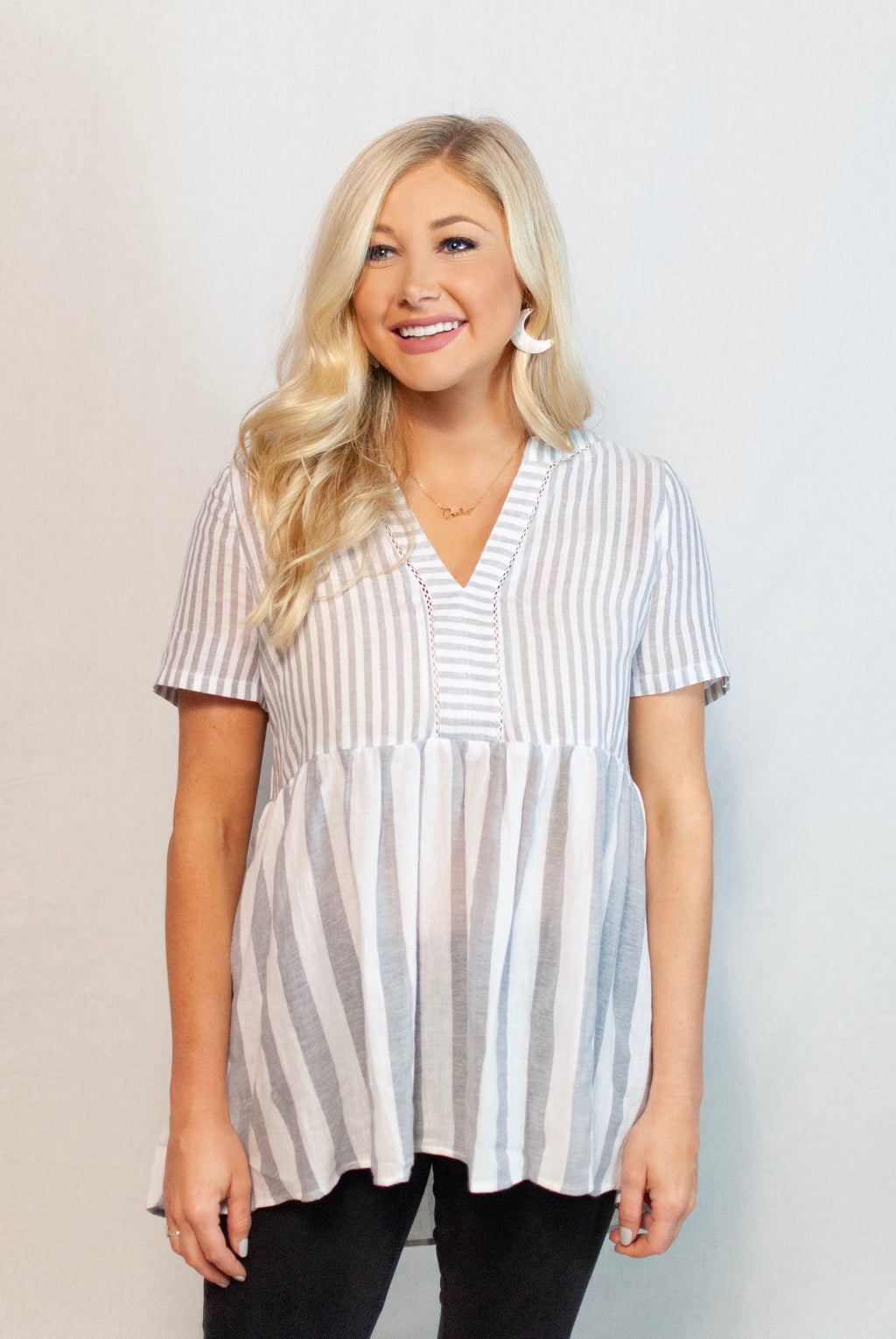 contrast stripe top - poppy & rose clothing
