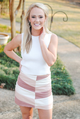color block skirt // pink