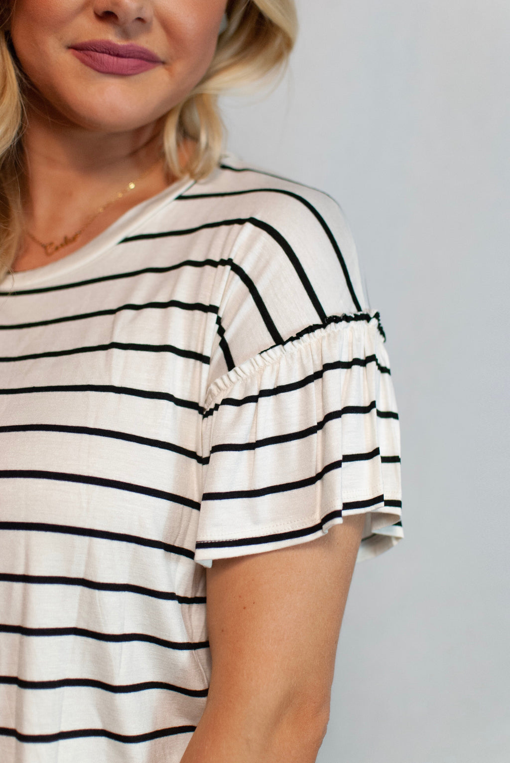 striped ruffle top - poppy & rose clothing