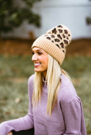 leopard beanie // brown - poppy & rose clothing