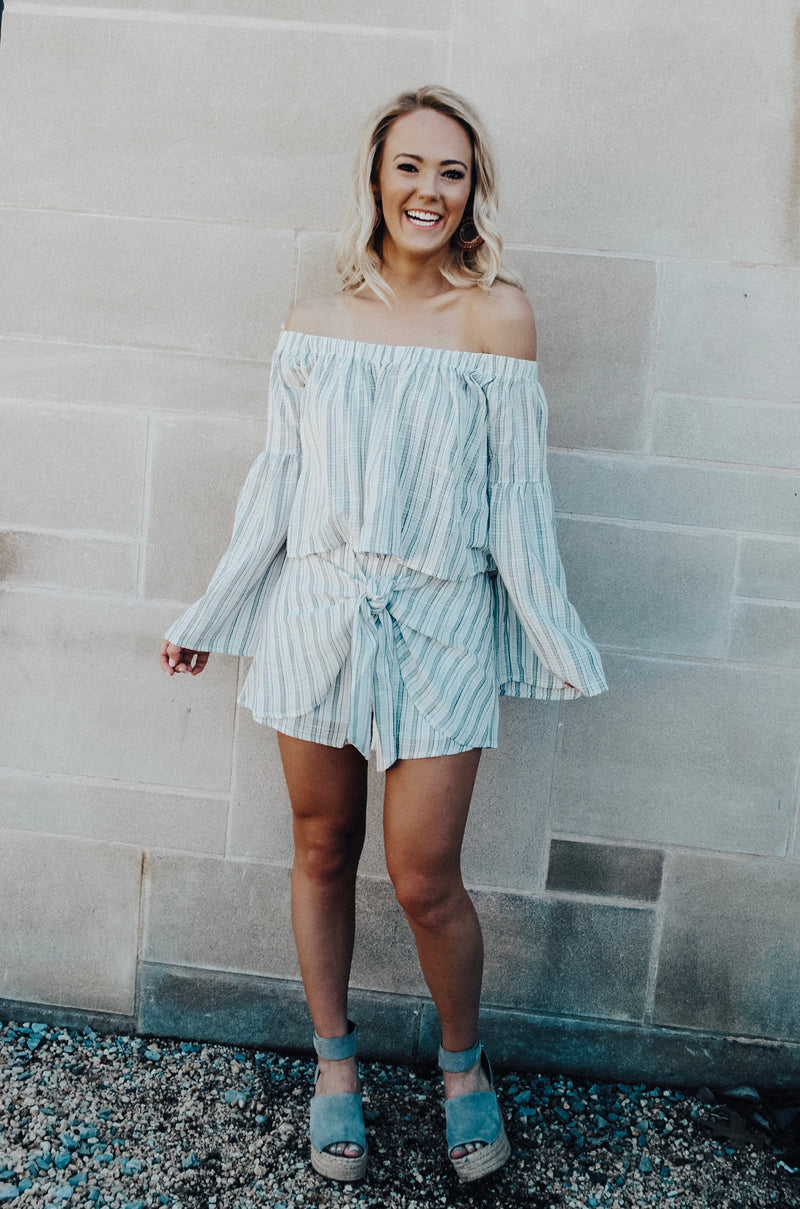 striped off the shoulder top - poppy & rose clothing
