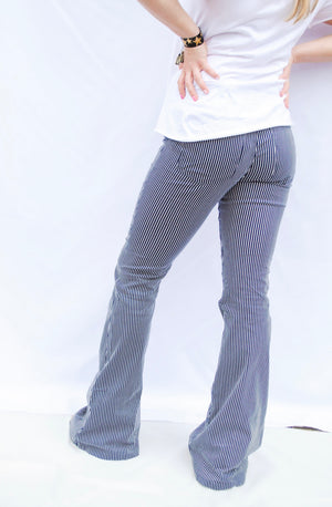 navy striped flares - poppy & rose clothing