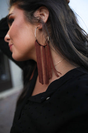 brown tassel // hoop earrings