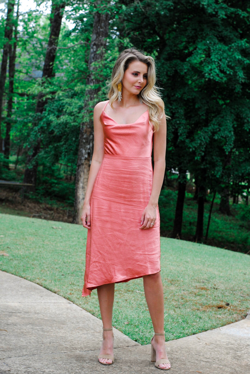 satin cowl neck dress // terracotta