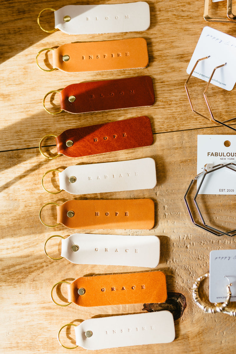 leather key chain - poppy & rose clothing