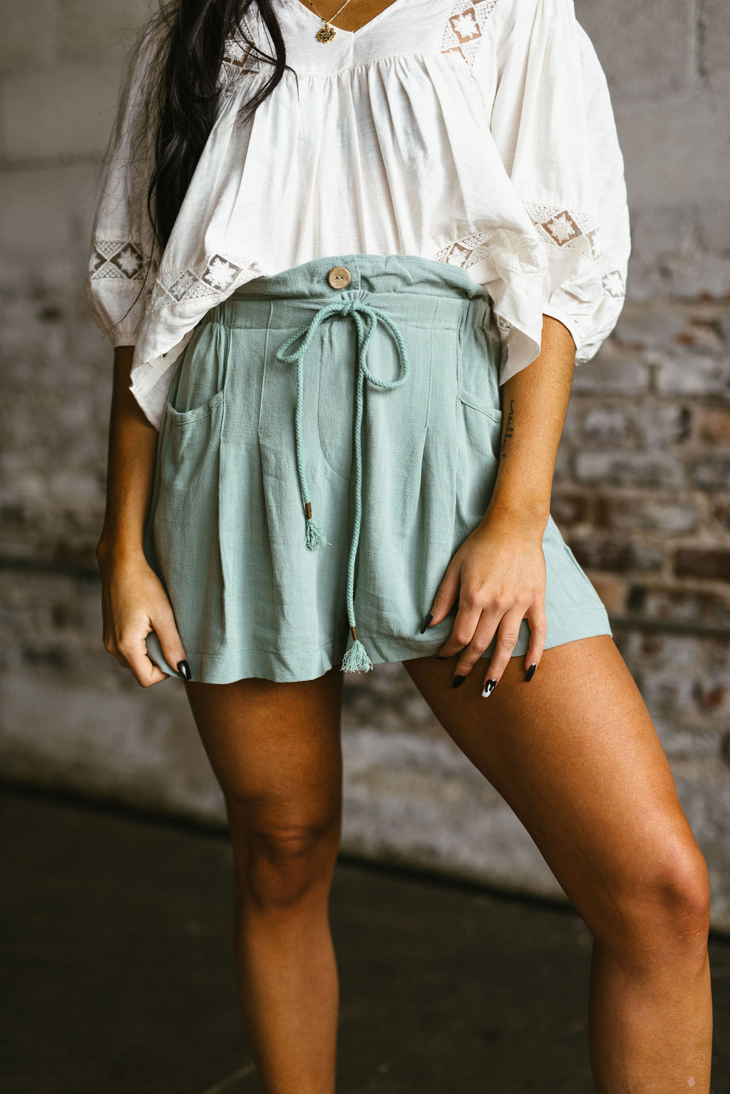 lily shorts // sage - poppy & rose clothing
