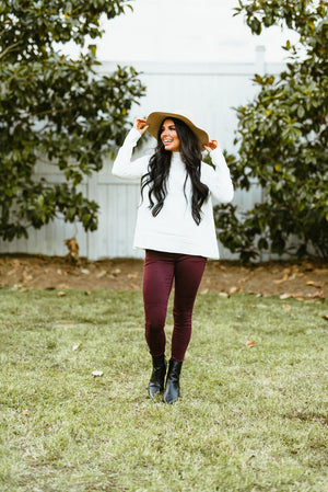 burgundy pants // leopard detail - poppy & rose clothing