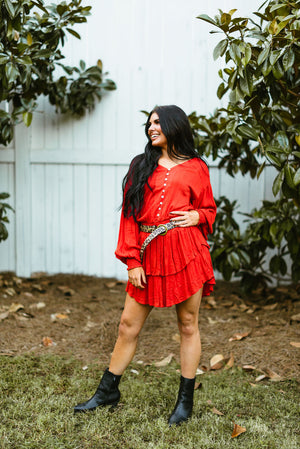 shania dress // burnt orange - poppy & rose clothing