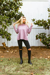 mock neck sweater // full sleeve pink