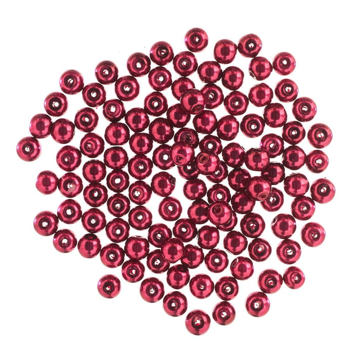 Extra Value Glass Pearls 6mm Red: Packs of 100