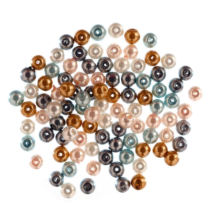 Extra Value Glass Pearls 6mm Multi: Packs of 100