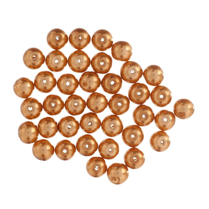 Extra Value Glass Pearls 8mm Gold:  packs of 40