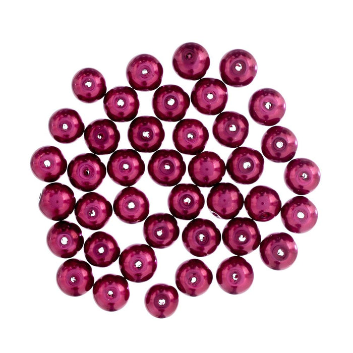 Extra Value Glass Pearls 8mm Red: Packs of 40