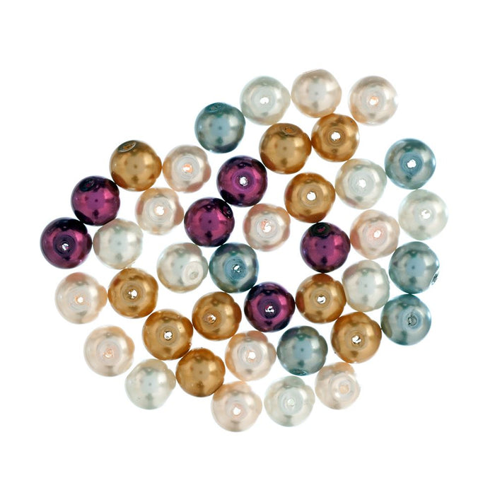 Extra Value Glass Pearls 8mm Multi: Packs of 40