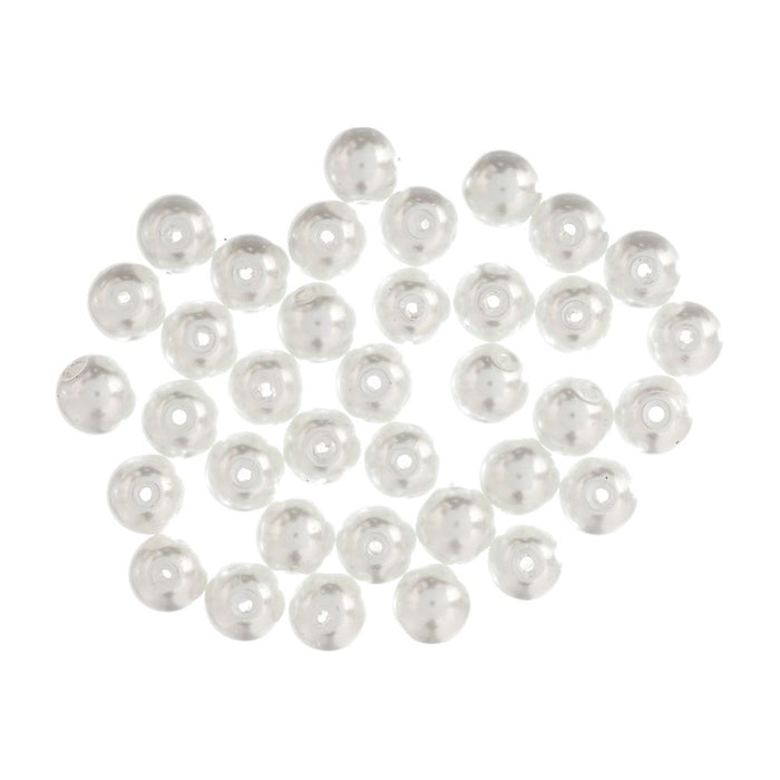 Extra Value Glass Pearls 8mm White: Packs of 40