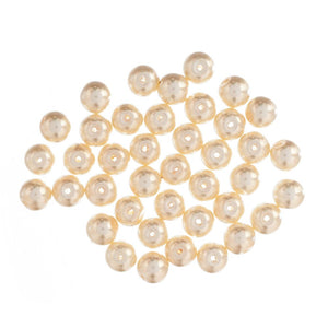 Extra Value Glass Pearls 8mm Cream:  Packs of 40