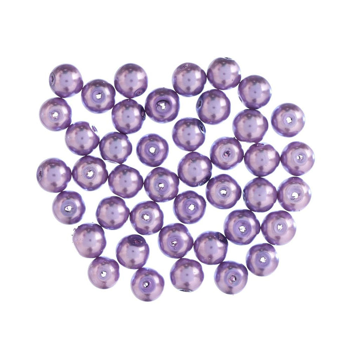 Extra Value Glass Pearls 8mm Purple: Packs of 40