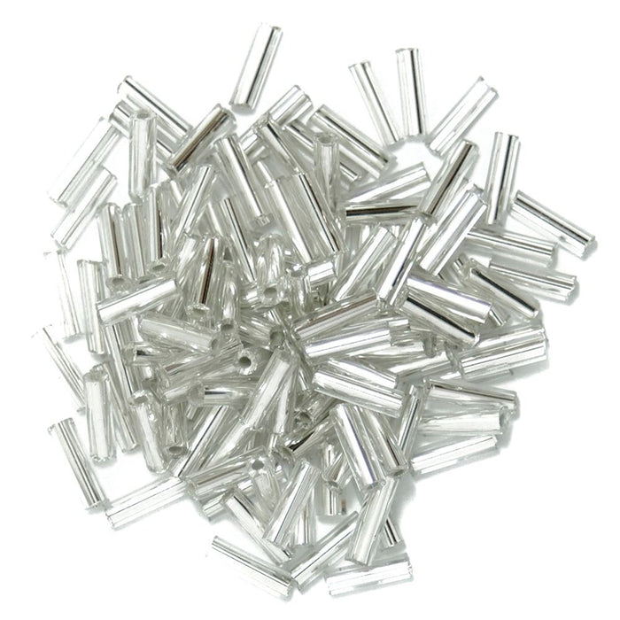 Extra Value Bugle Beads: Silver: Packs of 30g