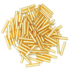 Extra Value Long Bugle Beads: Gold: Packs of 23g