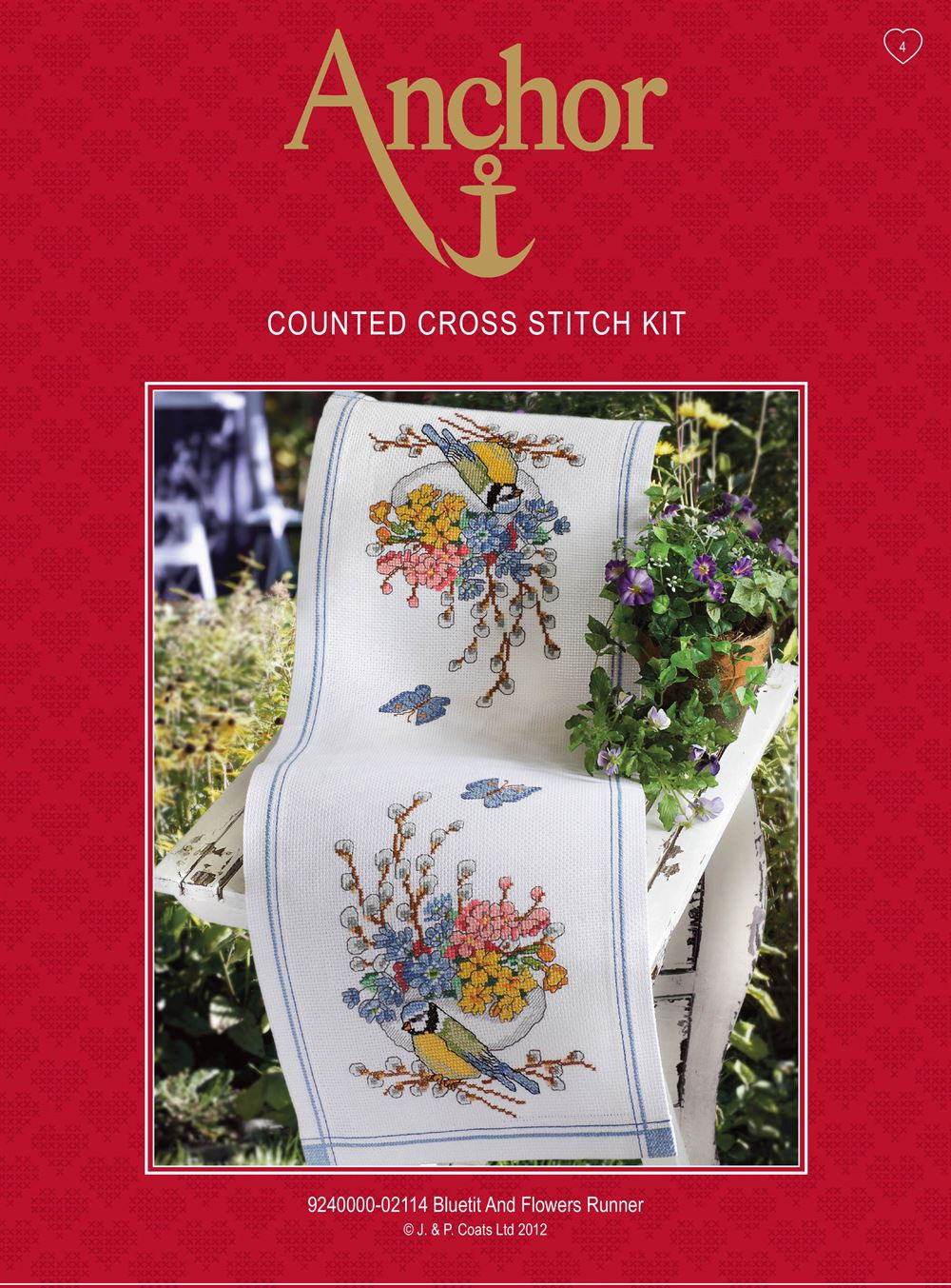 Cross Stitch Kit: Blue Tit & Flowers: Runner