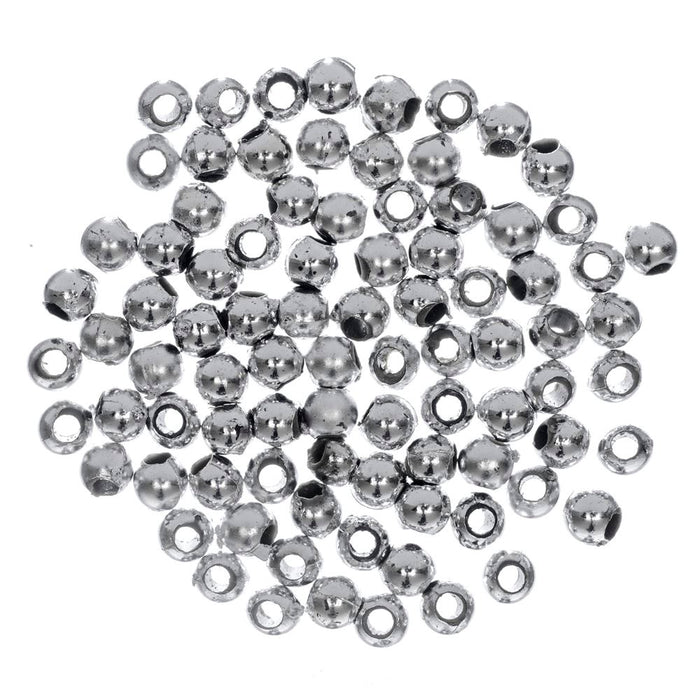 Extra Value Plated Beads: 3mm: Silver: Packs of 750g