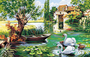 Canvas: Royal Paris: The Mill with Swans