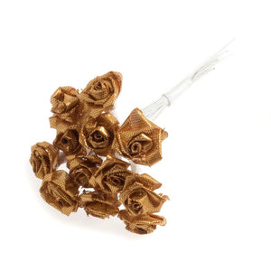 Ribbon Rose: 15mm: Pack of 12: Gold