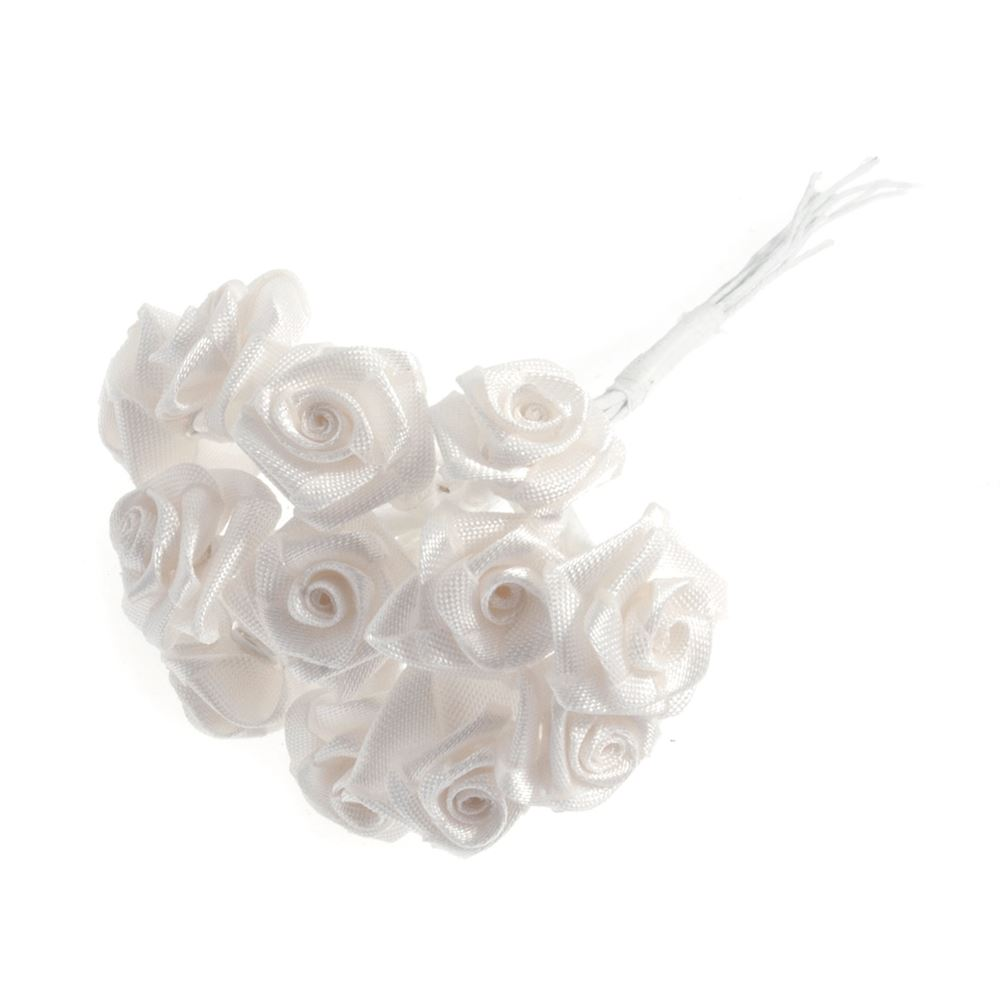 Ribbon Rose: 15mm: Pack of 12: Ivory